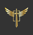 sword and wings logo design inspiration in gold vector image vector image