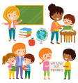 teachers and students clipart set vector image