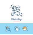 tooth fairy logo children dentistry thin line art vector image