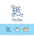 tooth fairy logo childrens dentistry thin line art vector image vector image