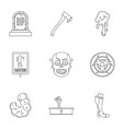 zombie element icon set outline style vector image vector image