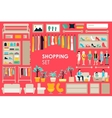 Shopping Big Collection in flat design background vector image