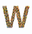a group of people in english alphabet letter w vector image vector image