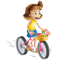 A happy girl riding a bike vector image vector image