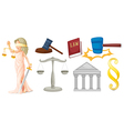 A lady with the symbols for justice vector image