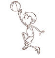 A plain sketch of a male basketball player vector image vector image
