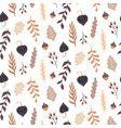 Autumn seamless pattern with wild floral elements