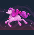 beautiful little cartoon flying pink pony vector image