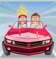 boy and girl riding in a car at high speed vector image