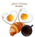 breakfast cofee cup croissant and vector image vector image