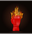 burning red glove with fire flame vector image vector image
