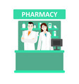 cartoon color characters people pharmacist and vector image vector image