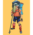 Cartoon male traveler in a tourist outfit vector image