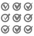 Check mark icons Grey tick check marks in circles vector image