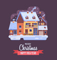 christmas card with downtown winter house by night vector image