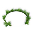 christmas oval frame with coniferous twigs vector image vector image