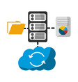 cloud computing with server and set icons vector image