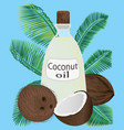 coconut oil in a jar and coconuts vector image