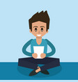 color background of man sitting with tablet device vector image vector image