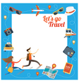 Couple run with Travel Objects Icons Frame vector image vector image