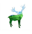 deer animal silhouette isolated on white vector image