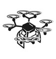eight propeller drone icon simple style vector image vector image