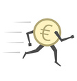 Euro coin running isolated vector image