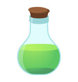 flask cartoon icon on green background vector image vector image