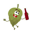 funny smiling beer hop character holding dark beer vector image vector image