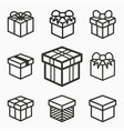 gift box surprise icons set of present package vector image