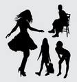 girl gesture silhouette vector image vector image
