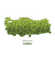 green leaf map of turkey of a vector image vector image