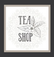 green tea herb label lettering tea leaves flower vector image