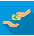 Hand gives money icon flat style vector image vector image