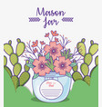 mason jar flowers cactus save date decoration vector image vector image