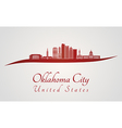 Oklahoma City V2 skyline in red vector image