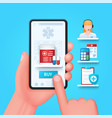 online pharmacy concept hand holds smartphone vector image