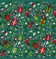 pattern with red gift boxes socks and sweets vector image