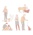 people with pets in park owners dogs and cats vector image