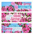 pink flower banner of spring season holiday design vector image vector image