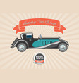 retro vintage car with banner and badge on retro vector image