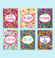 set creative holidays journaling cards vector image