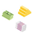 set of high quality isometric money stacks dollar vector image vector image