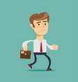 simple cartoon of a businessman running vector image