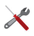 simple wrench and screwdriver cross graphic vector image