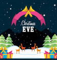 snowscape with reindeer and set icons christmas vector image vector image