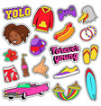 teens fashion set with pink car fast food vector image
