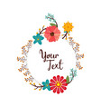typography with rounded flowers frame vector image