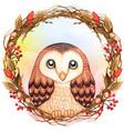 watercolor cute barn owl on a winter twig wreath vector image