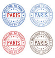 welcome to paris france colored collection on vector image